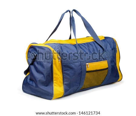 Large nylon sports bag isolated on white - stock photo