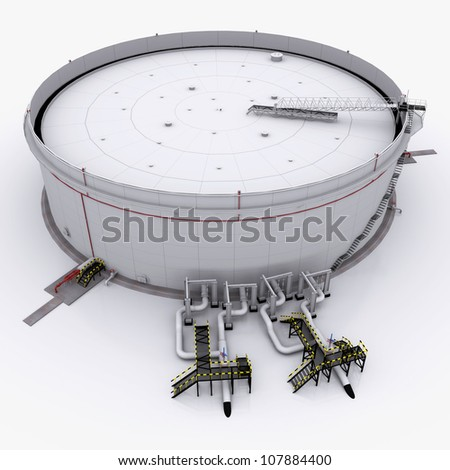 Large oil tank with floating roof. isolated on white background - stock photo