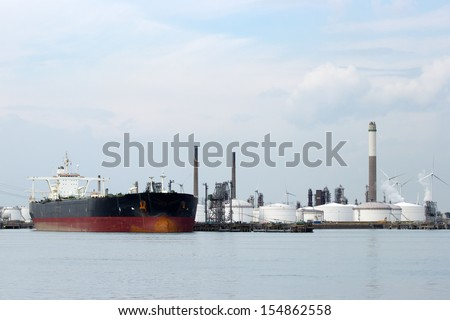 Large oil tanker in port  - stock photo