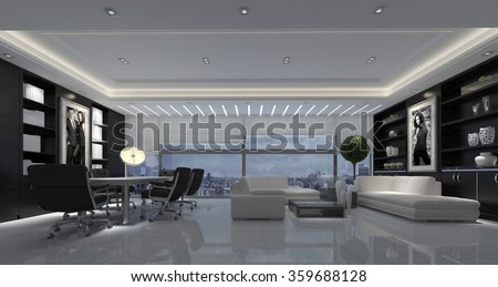 Large open-plan modern living room with a dining table and chairs and comfortable seating area in black and white decor. 3d rendering.
