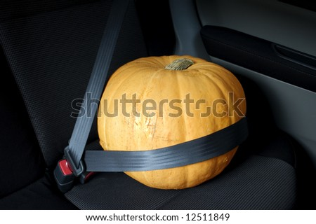 Large orange Halloween pumpkin sitting in car with seat belt. Could also be used as conceptual photograph for food transport. - stock photo
