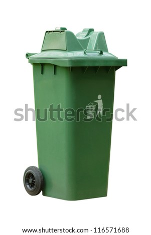 Large outdoor green garbage bin on white background - stock photo