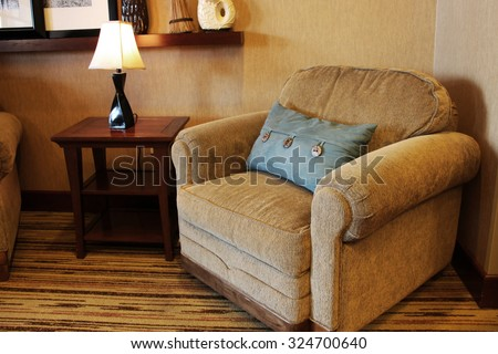 Large overstuffed armchair - stock photo