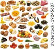 large page of food collection on white background - stock photo