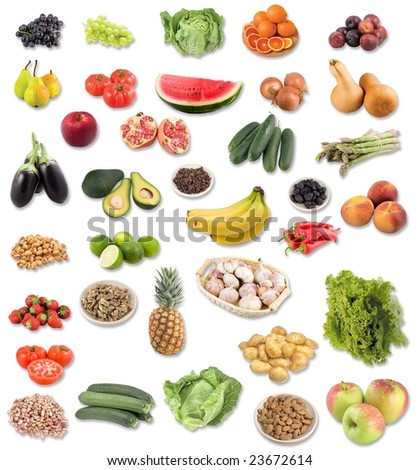 large page of fruit and vegetable assortment on white background