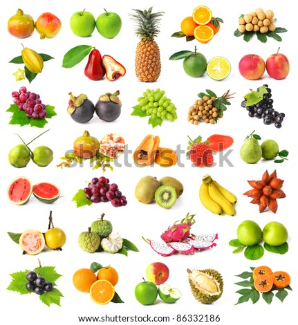 Large page of fruits isolated on white background - stock photo