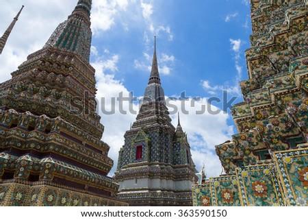 large pagoda at Wat Pho Attractions Bangkok, Thailand - stock photo