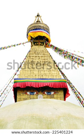Large pair of eyes represent Wisdom & Compassion, Swayambhunath Stupa Nepal - stock photo