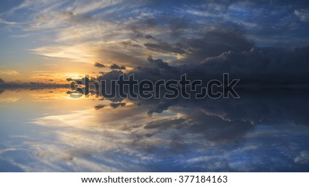 Large panorama image of stormy sunset sky reflected in still water