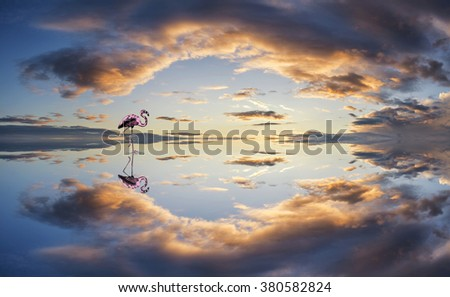 Large panorama image of stormy sunset sky reflected in still water - stock photo