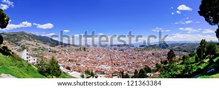 Large panorama of Quito old historic center, ecuador - stock photo