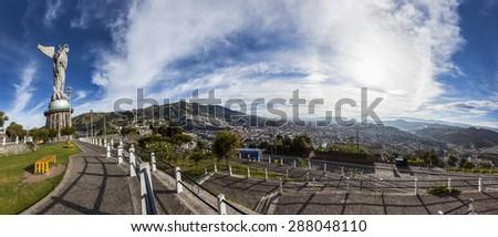 Large panorama of Quito view from Panecillo, Ecuador - stock photo
