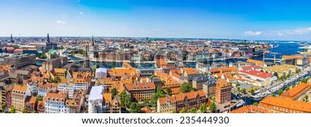 Large panorama view of Copenhagen in Denmark - stock photo