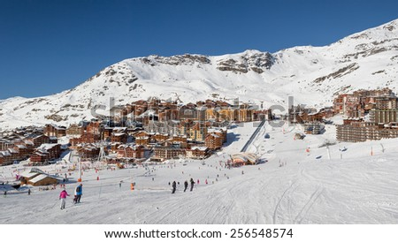 Large panorama view over Val Thorens the highest ski resort in France and part of The Thee Valleys the largest ski domain in the world - stock photo