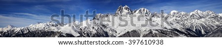 Large panoramic view on Mount Ushba at sunny day. Caucasus Mountains. Svaneti region of Georgia.  - stock photo
