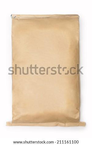 large paper kraft bag isolated on white - stock photo