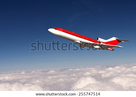Large passenger airliner flying above clouds - stock photo