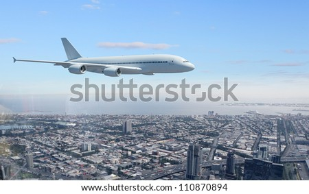 Large passenger airplane flying in the sky