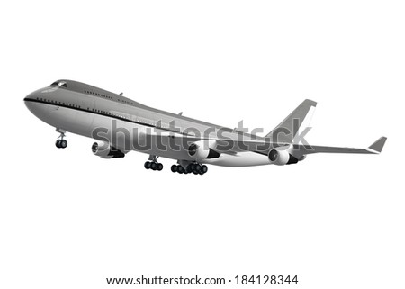 Large passenger airplane isolated on white background - stock photo