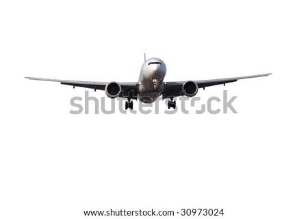 large passenger jet on final approach to land isolated on white