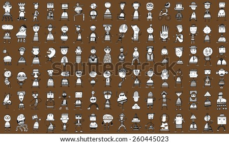 Large pattern CREATURES people funny caricature graphic simple figures cartoons attitudes strange brown