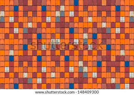 Large pattern of colorful cargo shipping containers - stock photo