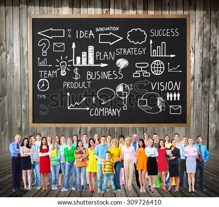 Large People group near colorful infographic background. - stock photo