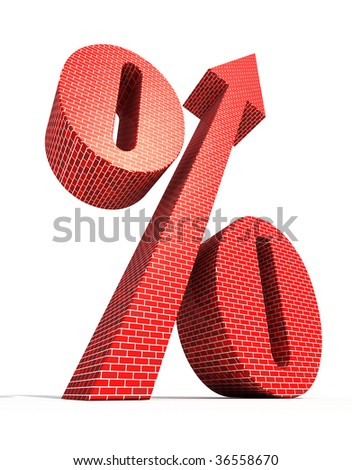 Large percent symbol with arrow directed to top - stock photo