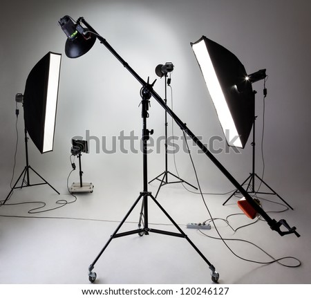 Large photostudio with lighting equipment