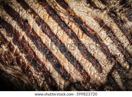 Large piece of fresh beef meat prepared on a grill pan. Toned. - stock photo
