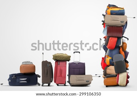 Large pile of bags and suitcases, travel - stock photo