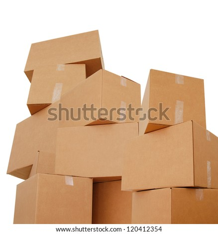 Large piles of carton boxes isolated white - stock photo
