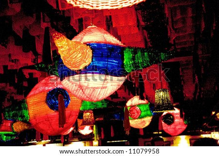 Large Pinatas Decorations Mexican Restaurant, Guadalajara, Mexico - stock photo