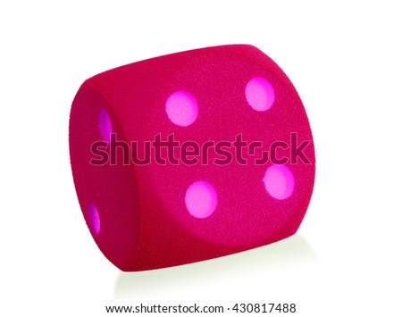 Large pink foam dice isolated on white set - 4 - stock photo