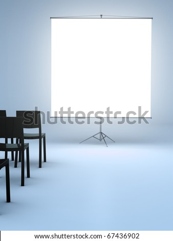 large plain white projector screen in an empty room with chairs for an audience