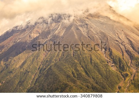Large Plume Of Ash And Steam From The Tungurahua Volcano, South America - stock photo