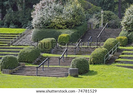 Large Portland, Oregon Rose Garden park stairs in amphitheater on a spring day.