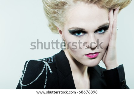 Large portrait of a creative hairstyle and makeup