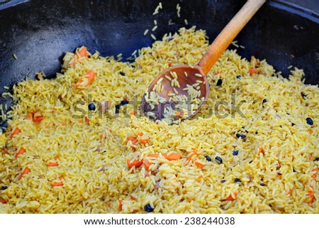 Large pot with pilaf