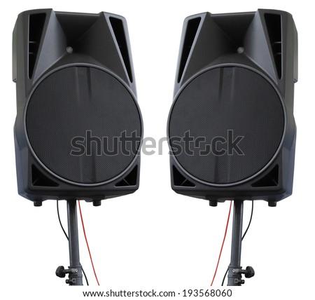 Large powerful Audio Speakers on tripod Isolated on White Background - stock photo