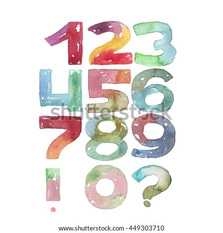 Large raster illustration with watercolor numbers sequence from 0 to 9. Digits set, vivid colored, grainy, with splashes and imperfections, isolated on white background. Hand drawn, good for counting - stock photo