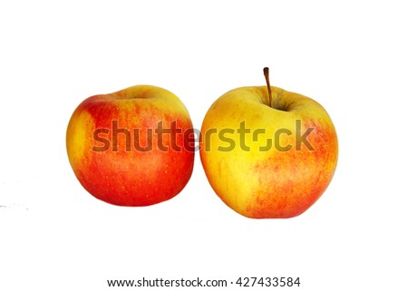 Large red and yellow apples isolated on white background . Useful vitamin food for diet. Juicy apples for dessert. Healthy fruit. Still life of ripe apples.  - stock photo