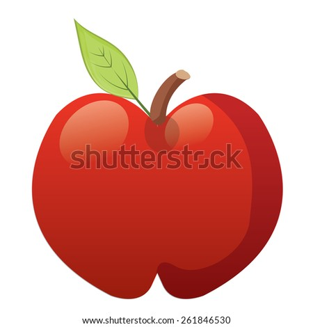 Large red apple and a Leaf.