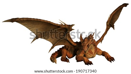 Large red dragon prowling, 3d digitally rendered illustration - stock photo