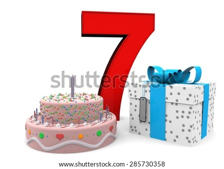 large red number with present and cake - stock photo