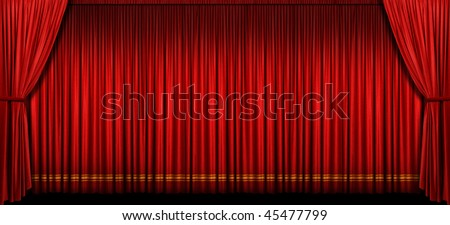Large red stage curtain with light and shadow - stock photo