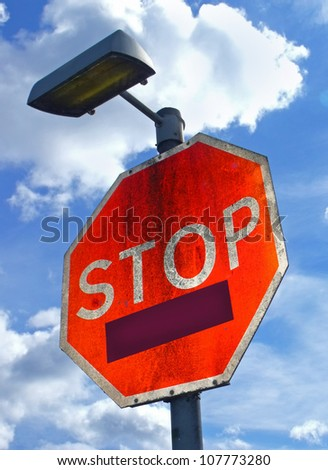 Large red Stop sign with copy space box for typing message. - stock photo