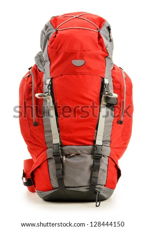 Large red touristic backpack isolated on white - stock photo