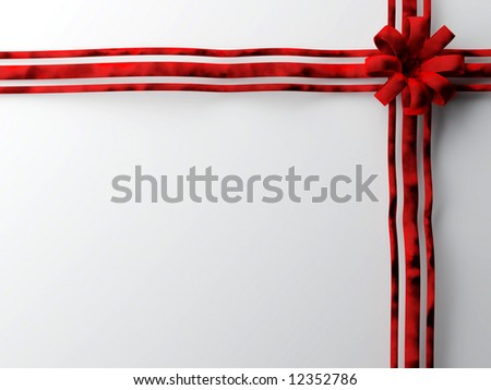 Large red velvet bow on plain background ready for text - stock photo