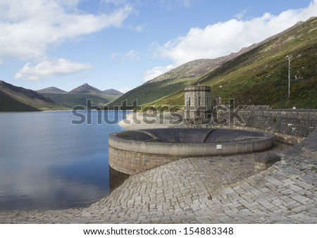 large reservoir in the mourne mountains north Ireland - stock photo